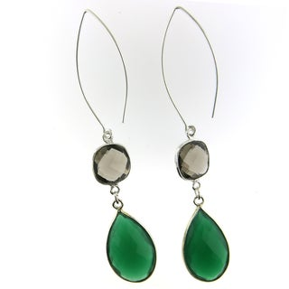 Handmade Silver-plated Faceted Gemstone Beauty Earrings (USA)