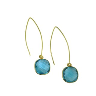 Handmade 18K Gold-plated Faceted Gemstone Beauty Earrings (USA)