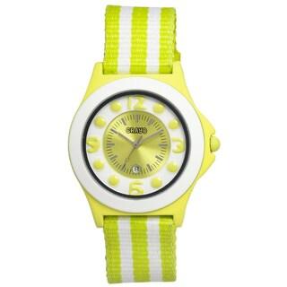 Crayo Carnival White/ Lime Nylon Analog Watch