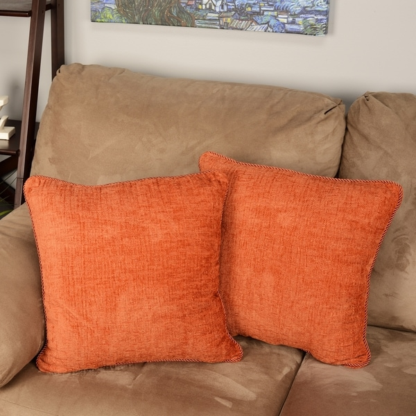 """Blazing Needles 18-inch Solid Chenille Rope-corded Throw Pillows (Set of 2) - 18"""""""