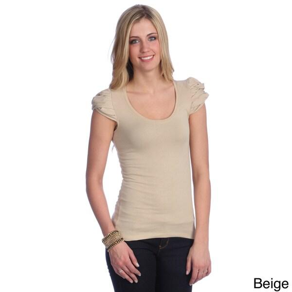 Hadari Women's Contemporary Solid Puffed Sleeve Top