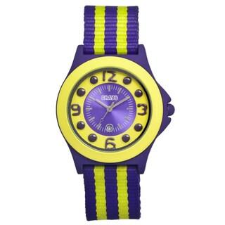 Crayo Carnival Lime/ Purple Nylon Analog Watch