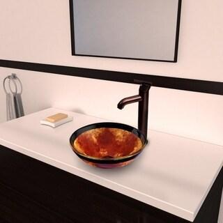 VIGO Auburn/Mocha Fusion Glass Vessel Sink and Seville Faucet Set in Oil Rubbed Bronze