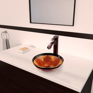 VIGO Auburn/Mocha Fusion Glass Vessel Sink and Otis Faucet Set in Oil Rubbed Bronze