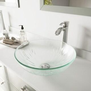 VIGO Icicles Glass Vessel Bathroom Sink and Otis Vessel Faucet Set