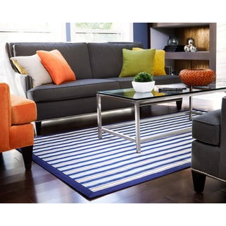 Jani Shore Blue Striped Rayon from Bamboo Rug - 7' x 10'