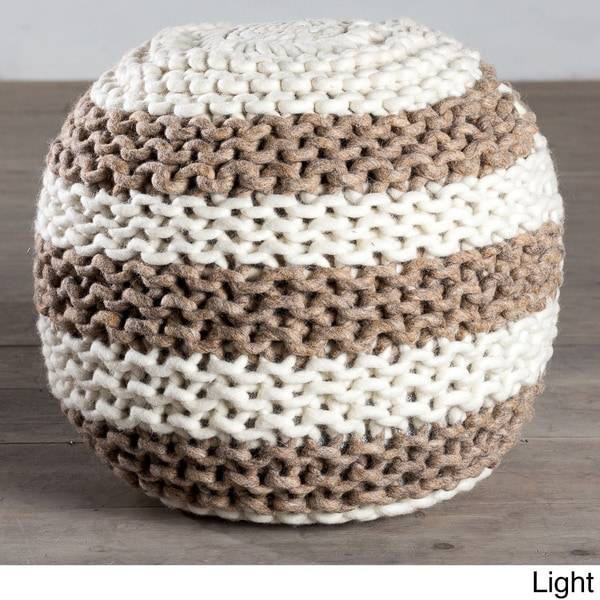 Handcrafted Aquarius Wool Ottoman Pouf (India)