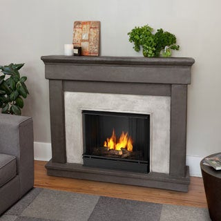 Real Flame Cascade Dune Stone Gel Cast Fireplace