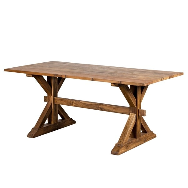 CG Sparks Reclaimed Teak 6u0026#x27; Trestle Dining Table (India)   Honey