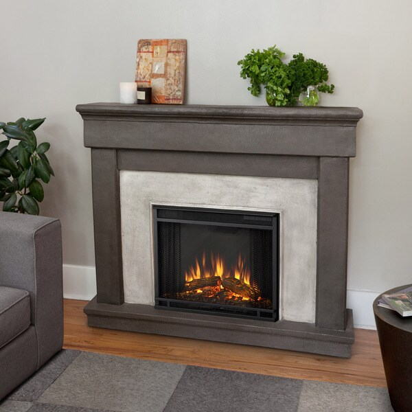 Real Flame Cascade Dune Stone Electric Cast Fireplace