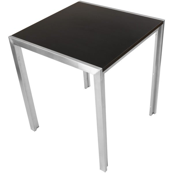 36 Inch High Square Espresso Wood Melamine Veneer Top Brushed Stainless  Steel Bar/ Pub