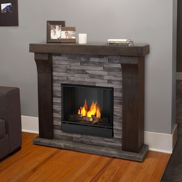 Real flame avondale grey ledgestone gel cast fireplace for Gel fuel fireplaces pros and cons