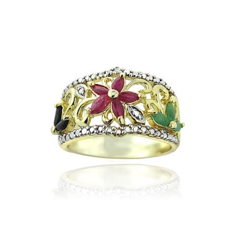 Glitzy Rocks Gold-tone Multi-gemstone and Diamond Accent Floral Accent Ring