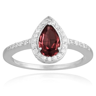 Glitzy Rocks Sterling Silver Garnet and White Topaz Ring