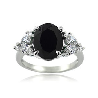 Glitzy Rocks Sterling Silver Black Spinel and White Topaz Ring