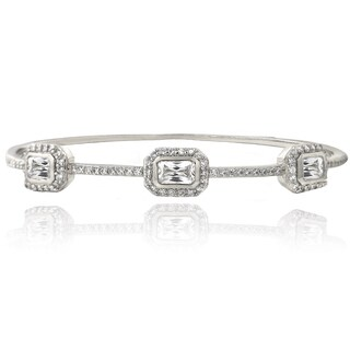 Glitzy Rocks Sterling Silver White Topaz Bangle Bracelet
