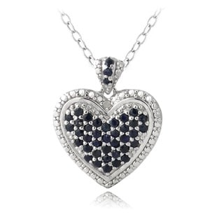 Glitzy Rocks Sterling Silver Sapphire and Diamond Accent Heart Necklace