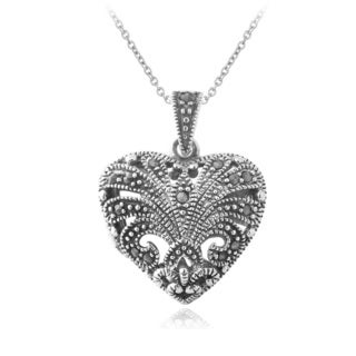 Glitzy Rocks Sterling Silver Marcasite Heart Necklace
