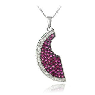 Icz Stonez Sterling Silver Cubic Zirconia Watermelon Slice Necklace