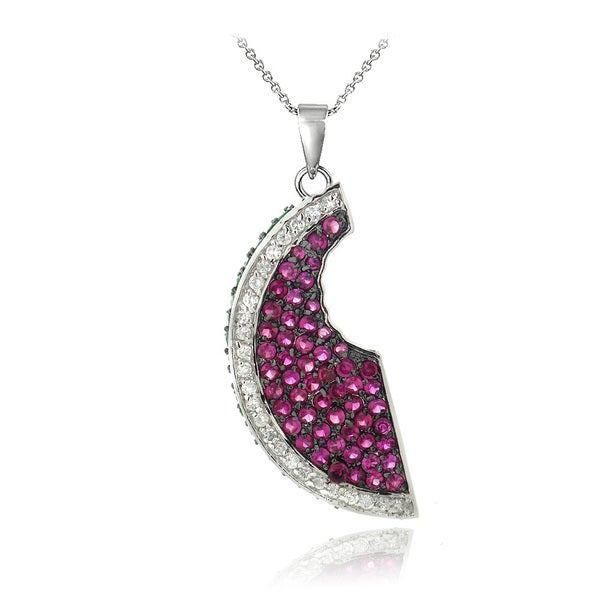 Icz Stonez Sterling Silver Cubic Zirconia Watermelon Slice Necklace. Opens flyout.