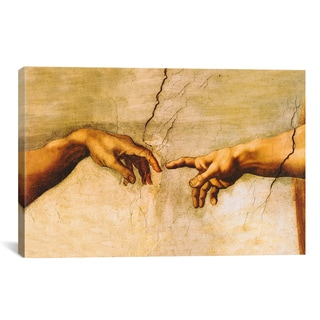 iCanvas The Creation of Adam by Michelangelo Canvas Print Wall Art