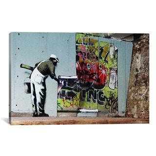 iCanvas Banksy Graffiti Wallpaper Hanging Canvas Print Wall Art