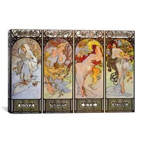 iCanvas Les Saisons by Alphonse Mucha Canvas Print Wall Art
