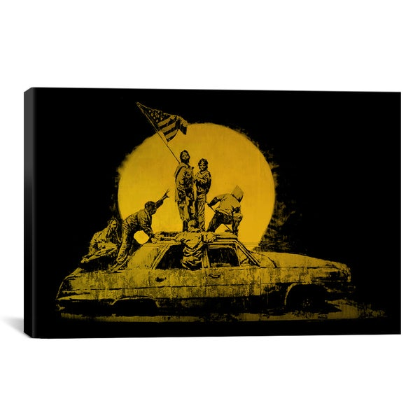 iCanvas Banksy La American Flag Gold Canvas Print Wall Art - Free ...