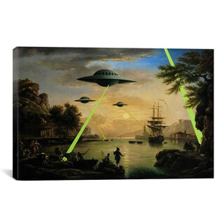 iCanvas Banksy Flying Saucers Aliens Canvas Print Wall Art