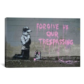 iCanvas Banksy Forgive Us Our Tresspassing Canvas Print Wall Art