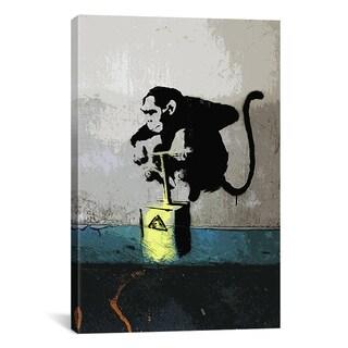 iCanvas Banksy Monkey Tnt Detonator Canvas Print Wall Art