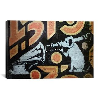iCanvas Banksy Hmv Dog With Rocket Gramaphone Canvas Print Wall Art