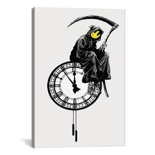 iCanvas Banksy Smiley Grim Reaper Death On A Clock Canvas Print Wall Art