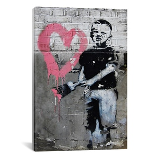 iCanvas Banksy Boy Painting Pink Heart Canvas Print Wall Art