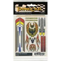 "Pine Car Derby Dry Transfer Decal 4""X4.75"" Sheet-Customs Designs"