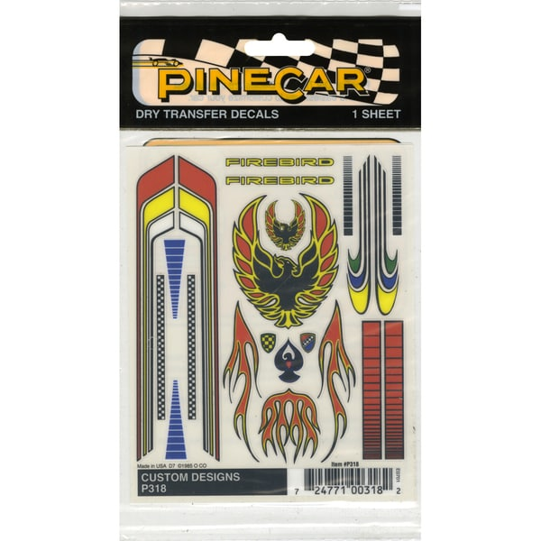 "Pine Car Derby Dry Transfer Decal 4""X4.75"" Sheet-Customs Designs"