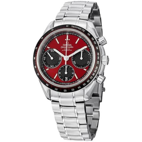 Omega Men's 'Speedmasteracing' Red Dial Stainless Steel Watch