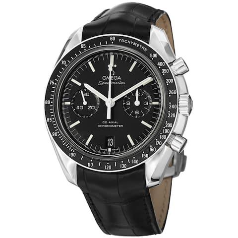 Omega Men's 311.33.44.51.01.001 'SpeedmasterMoon' Black Dial Black Leather Strap Watch