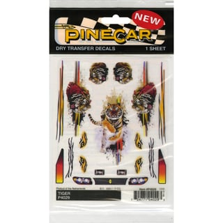 "Pine Car Derby Dry Transfer Decal 4""X5"" Sheet-Tiger"