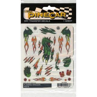 "Pine Car Derby Dry Transfer Decal 4""X5"" Sheet-Flaming Dragon"
