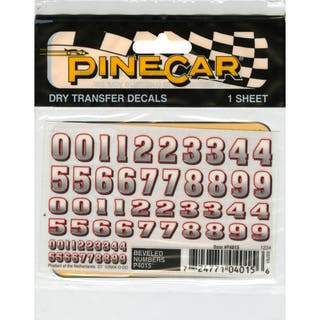 """Pine Car Derby Dry Transfer Decal 3""""X2.5"""" Sheet-Bevelled Numbers