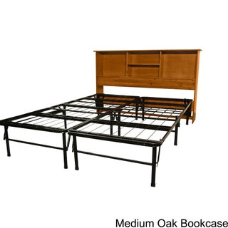 DuraBed Full Bed Frame with All Wood Bookcase Headboard (3 options available)