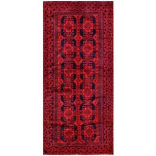 Herat Oriental Afghan Hand-knotted Tribal Balouchi Red/ Navy Wool Rug (5' x 11')