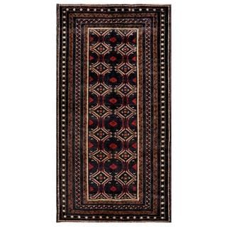 Herat Oriental Afghan Hand-knotted Tribal Balouchi Black/ Red Wool Rug (4'6 x 8'8)