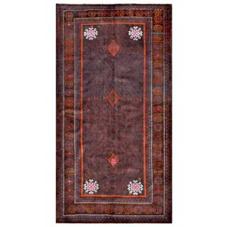 Herat Oriental Afghan Hand-knotted Tribal Balouchi Grey/ Red Wool Rug (4'8 x 8'10)