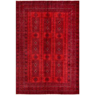 Herat Oriental Afghan Hand-knotted Tribal Balouchi Red/ Black Wool Rug (5'10 x 9'7)