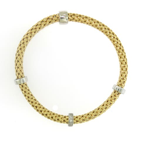 Handmade Sterling Silver 18K Gold Plated Stretch Bracelet (Italy)