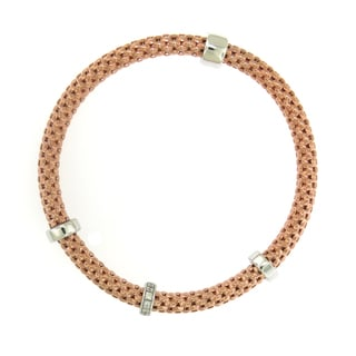 Sterling Silver 18K Rose Gold Plated Stretch Bracelet (Italy)