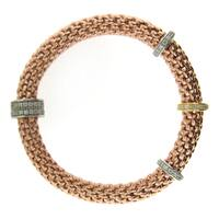 Handmade Sterling Silver 18K Rose Gold Plated Stretch Bracelet (Italy)