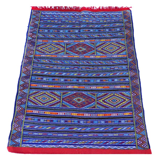 Hand Woven Blue Red Moroccan Kilim Rug 4 3 X27